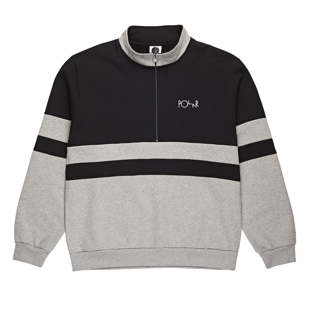 Polar Skate Co Block Zip Sweatshirt in Black / Heather Grey
