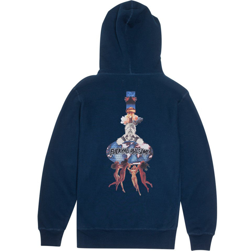 Fucking Awesome World Kid Hoodie Navy - Back