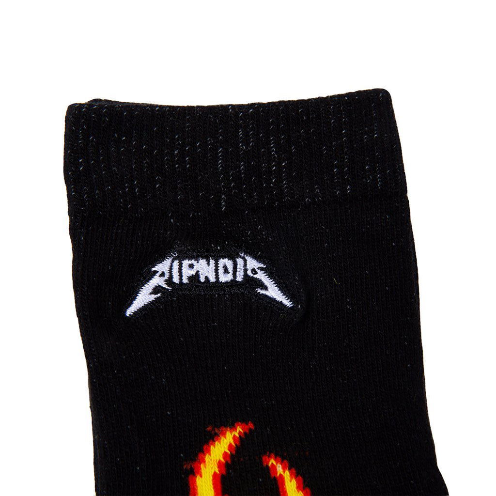 RIPNDIP Welcome to Heck Socks in Black / Yellow - Embroidery