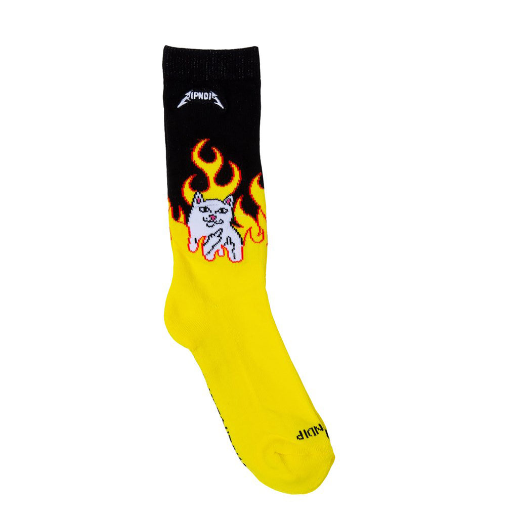 RIPNDIP Welcome to Heck Socks in Black / Yellow  - Detail 2