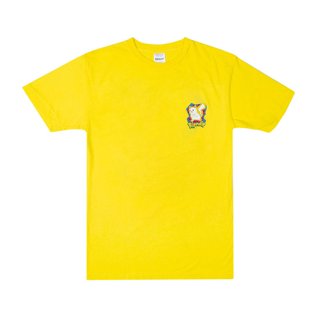 RIPNDIP Catch Em All T Shirt in Yellow - Front