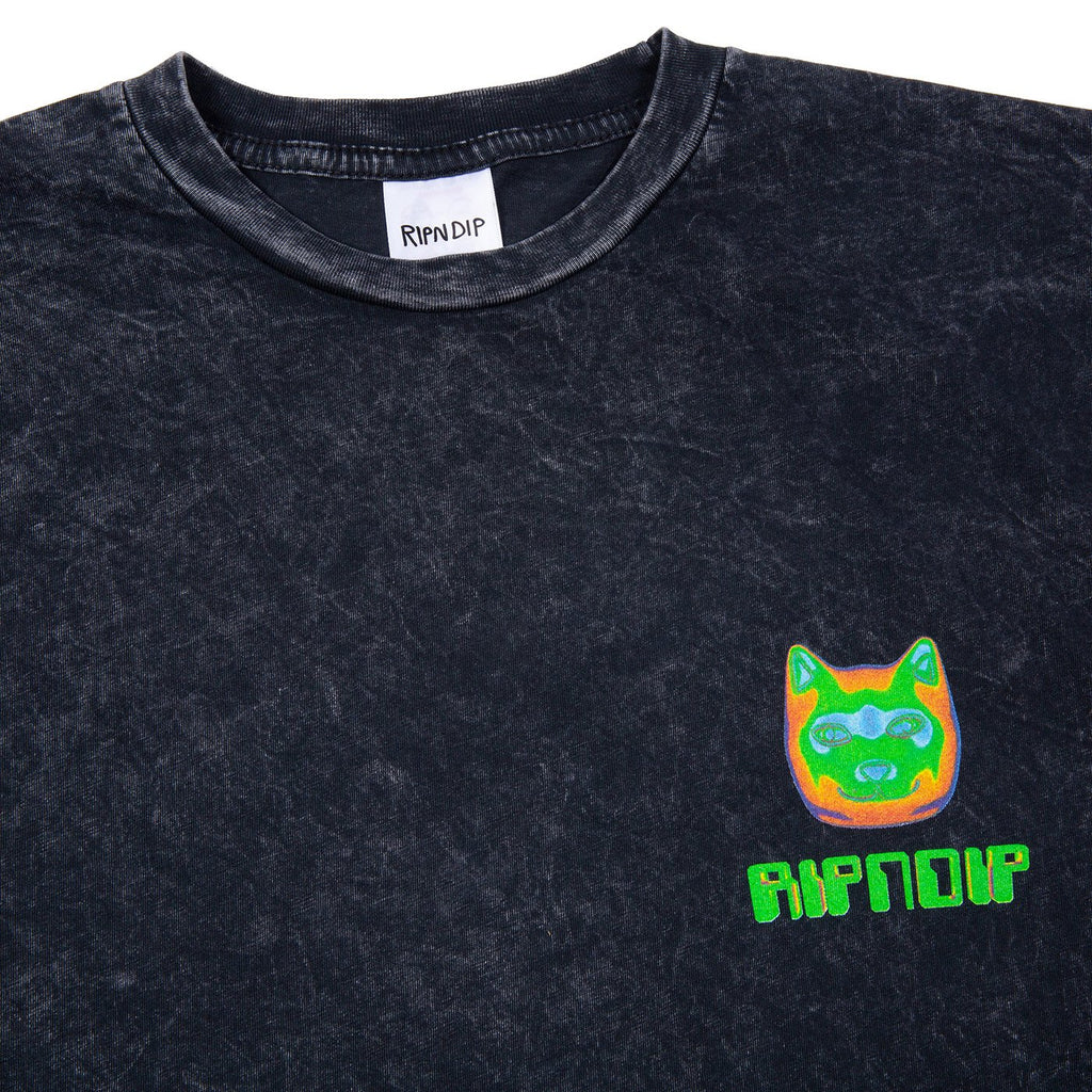 RIPNDIP Thermal Nermal T Shirt in Black Vintage Wash - Detail