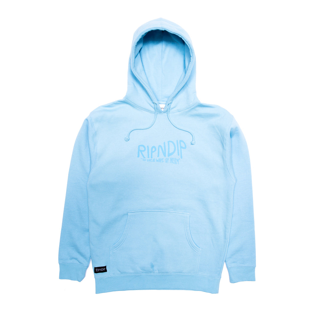 RIPNDIP Great Wave Hoodie in Baby Blue - Front