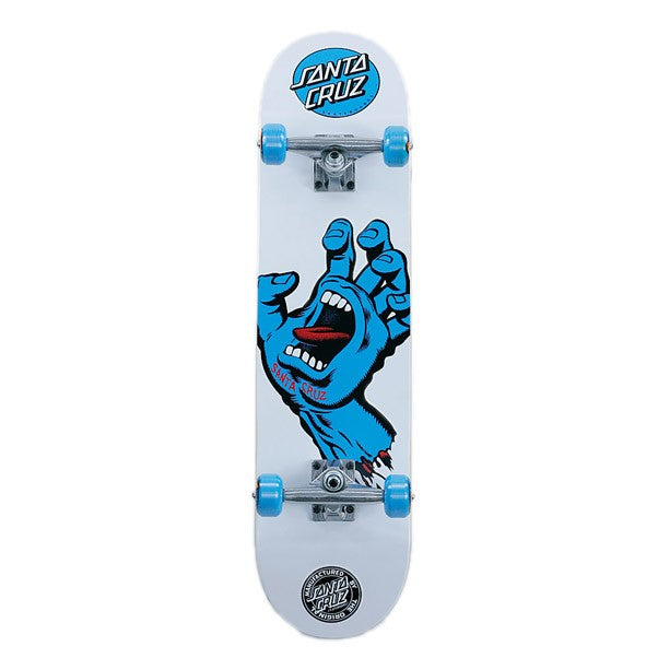 "Santa Cruz Screaming Hand Complete Skateboard White / Blue 7.75"" - Bottom"