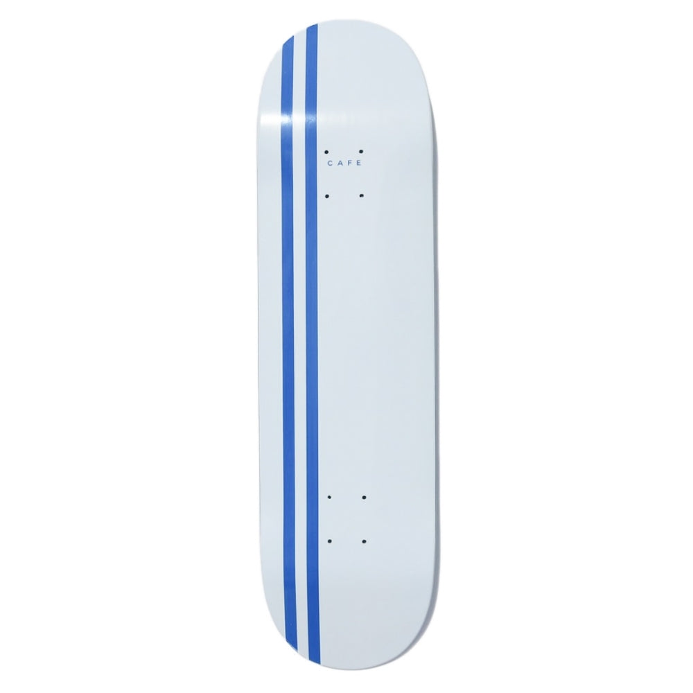 "Skateboard Cafe Stripe White / Royal Skateboard Deck 8.38"" - Bottom"