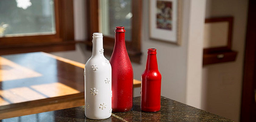 Paint Glass Bottles with Rust-Oleum Painter's Touch: DIY Technique