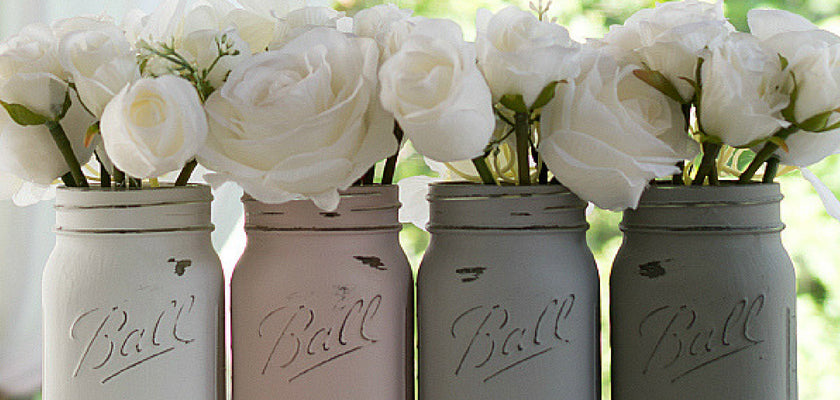 Chalk Painted Mason Jar Vases