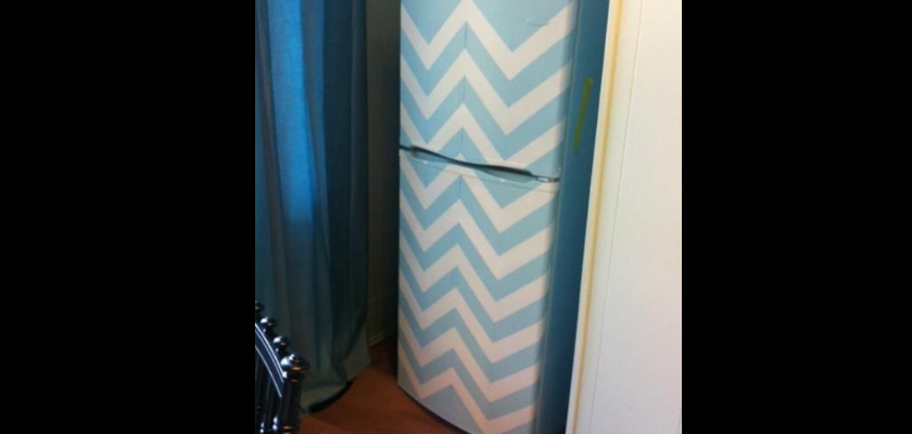 Colorful Painted Fridge Makeover