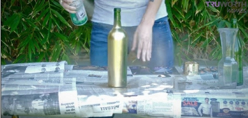 Paint the Bottle with Gold Spray Paint