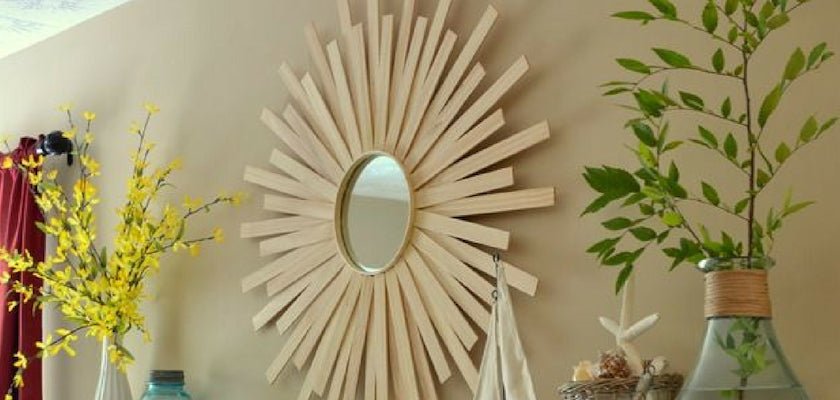 DIY Paint Stick Sunburst Mirror Art