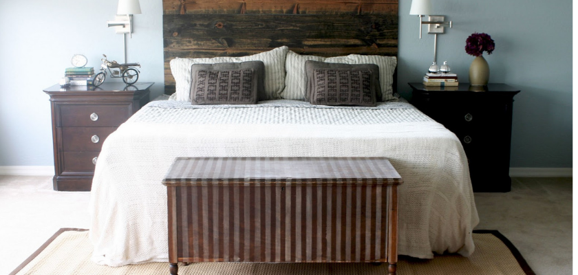 DIY Wood Stained Headboard