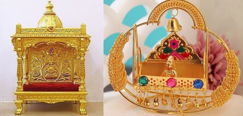 Finish the Temple Pooja Mandir in Gold