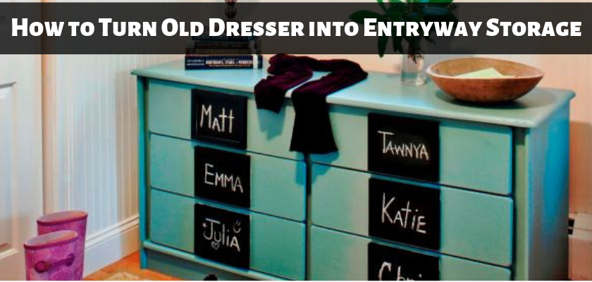 How to Turn Old Dresser into Entryway Storage