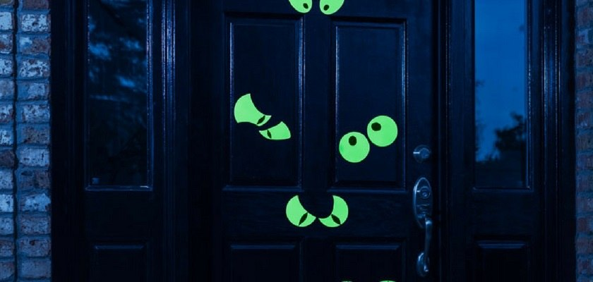 Spooky Glowing Eyes on Doors
