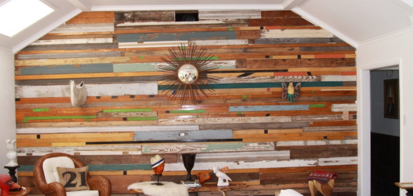 Wood Stained Palette Wall