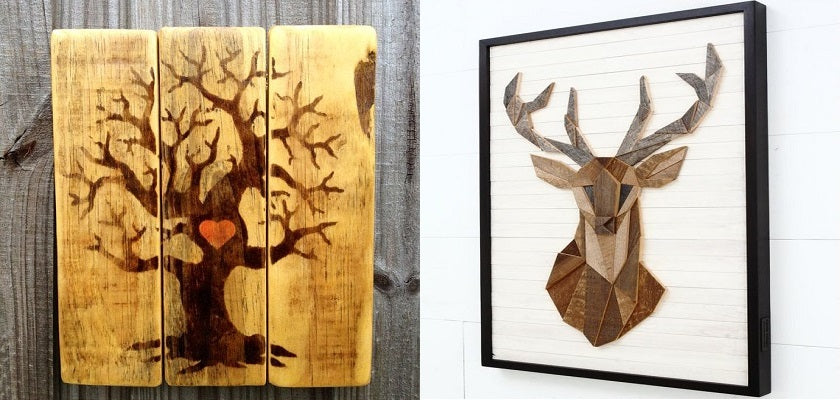 artwork with wood stain