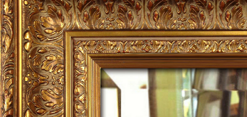 give antique look to mirror frame