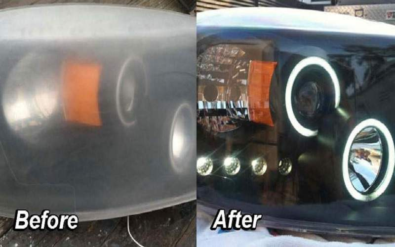 headlight restoration before after image