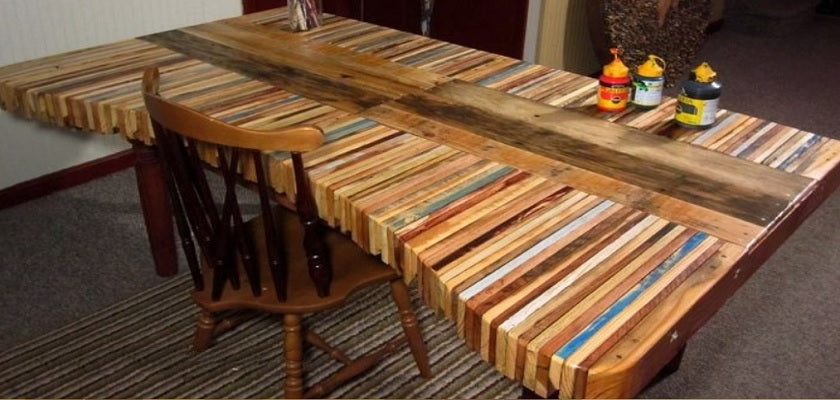 wood stained dining table
