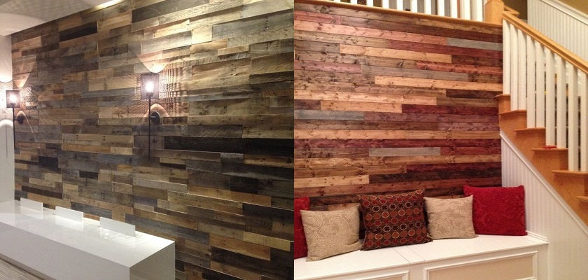 wood stained walls