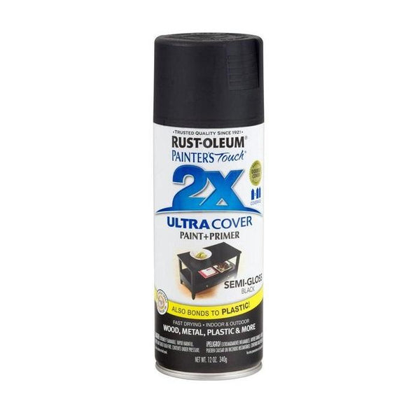 Painters Touch Acrylic Spray Paint for Plastic, Wood, And Metal - Semi-Gloss White - 340 Grams