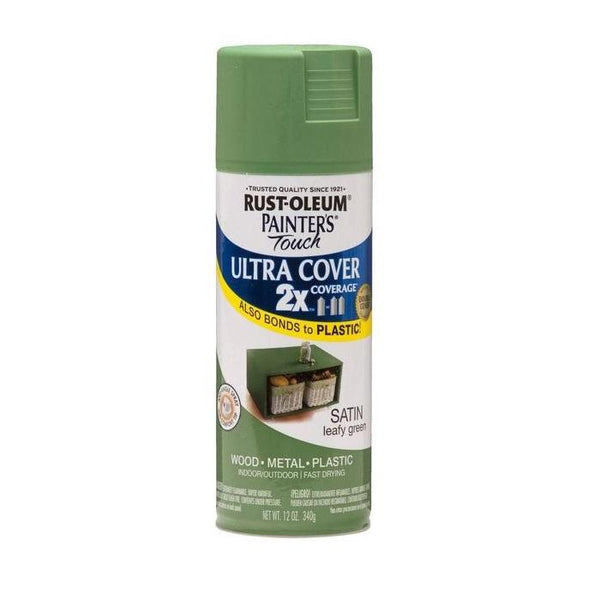 Painters Touch Acrylic Spray Paint for Plastic, Wood, And Metal - Satin Moss Green - 340 Grams
