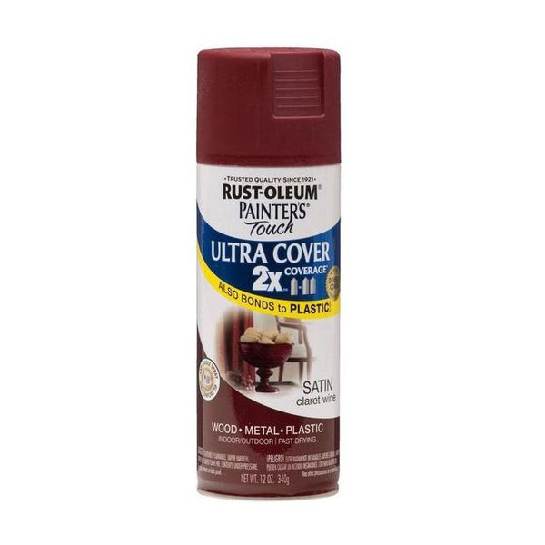 Painters Touch Acrylic Spray Paint for Plastic, Wood, And Metal - Satin Colonial Red - 340 Grams
