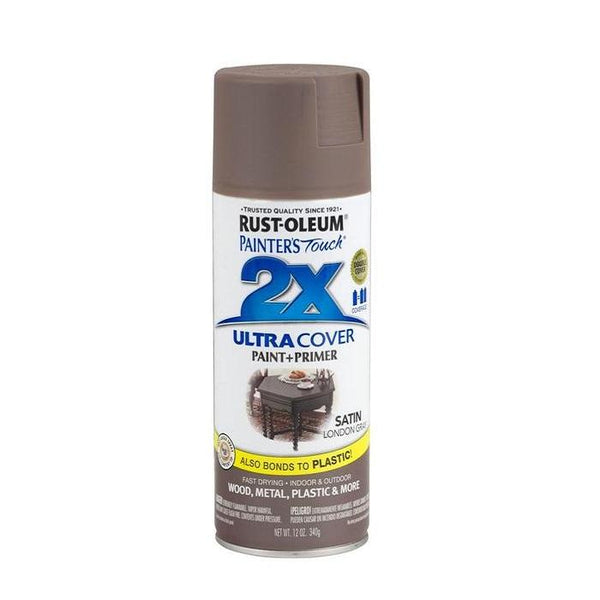 Painters Touch Acrylic Spray Paint for Plastic, Wood, And Metal - Satin Stone Gray - 340 Grams