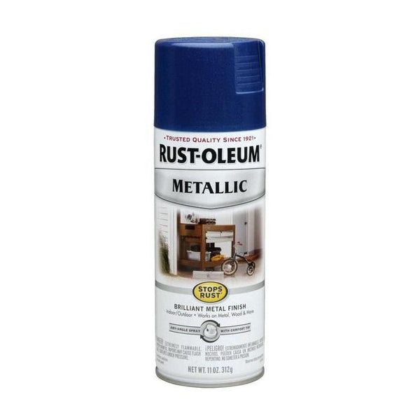Rust-Oleum Stops Rust Metallic Aerosol Spray Paint - Black Night - 312 Grams