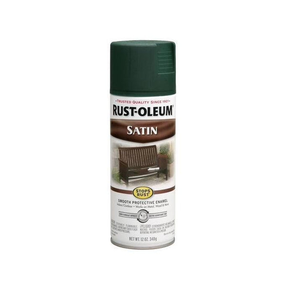 Rust-Oleum Stops Rust Satin Enamel Spray Paint - Spruce Green - 340 Grams