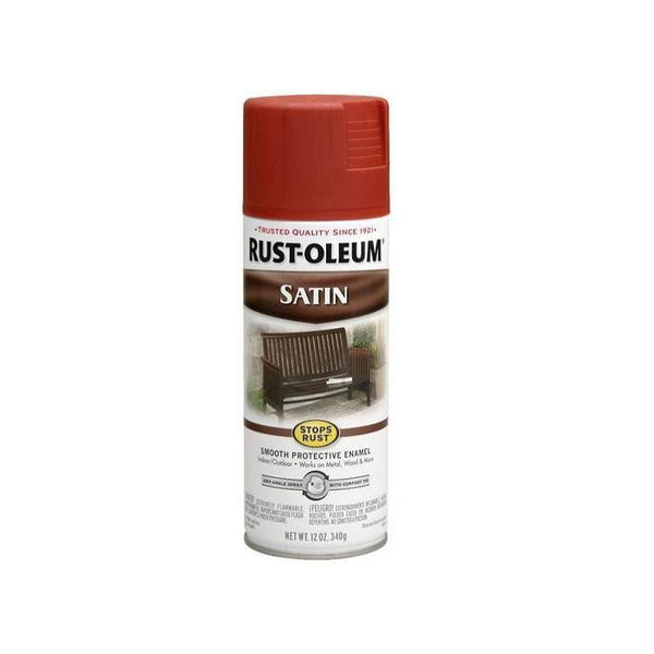 Rust-Oleum Stops Rust Satin Enamel Spray Paint - Heritage Red - 340 Grams