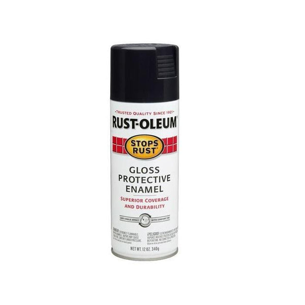 Rust-Oleum Stops Rust Enamel Touch Up Spray Paint - Flat Black - 340 Grams