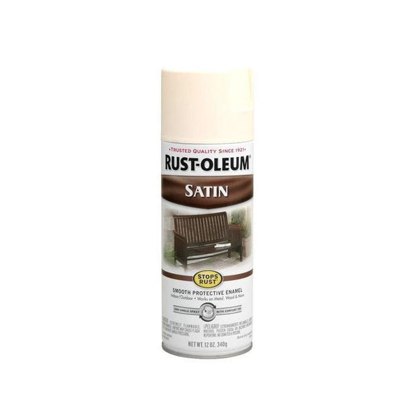 Rust-Oleum Stops Rust Satin Enamel Spray Paint - Shell White - 340 Grams