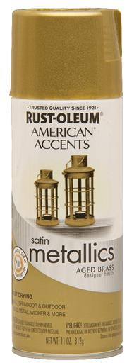 Rust-Oleum American Accents Designer Metallic Spray Paint - Aged Brass - 312 Grams
