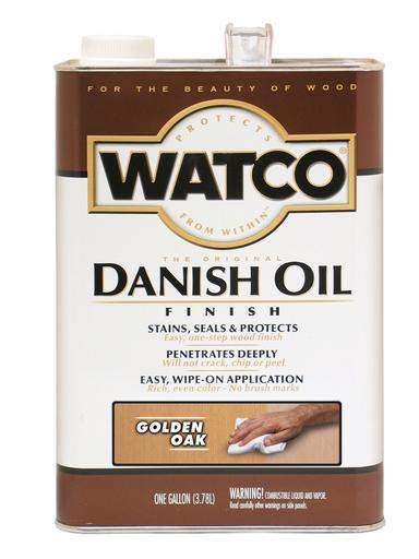 Rust-Oleum Watco Danish Oil Stains, Seals and Protect Wood In One Step - Golden Oak - 3.78 Ltr.