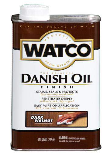 Rust-Oleum Watco Danish Oil Stains, Seals and Protect Wood In One Step - Dark Walnut - 946 Ml