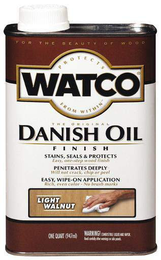 Rust-Oleum Watco Danish Oil Stains, Seals and Protect Wood In One Step - Light Walnut - 946 Ml