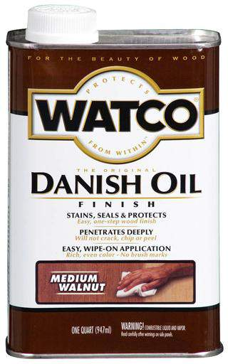 Rust-Oleum Watco Danish Oil Stains, Seals and Protect Wood In One Step - Medium Walnut - 946 Ml