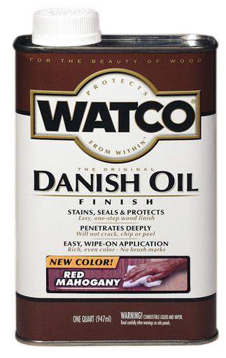 Rust-Oleum Watco Danish Oil Stains, Seals and Protect Wood In One Step - Red Mahogany - 946 Ml