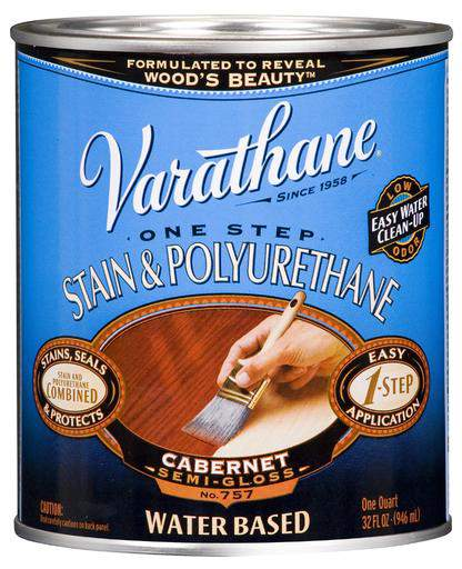 Varathane One Step Stain and Polyurethane - Water-Based - Cabernet - 946 Ml
