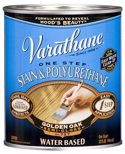Varathane One Step Stain and Polyurethane - Water-Based - Golden Oak - 946 Ml