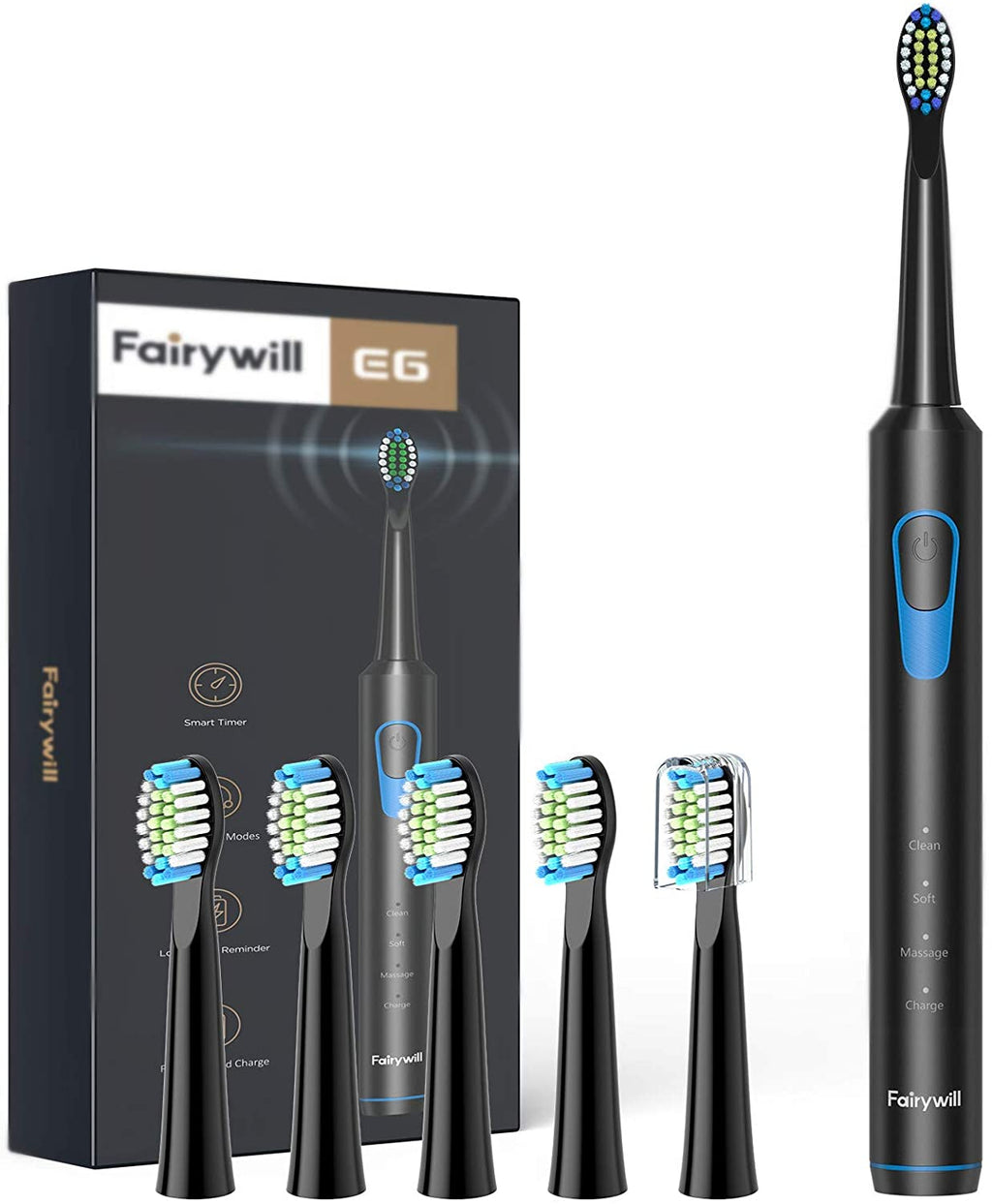 E6 Sonic Electric Toothbrush with 3 Modes Fast USB Charging 6 Dupont Brush Heads