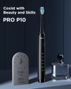P10 Ultrasonic Rechargeable Electric Toothbrush with 5 Modes 4 Brush Heads 2 Tongue Scraper