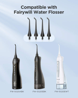 Water Flosser Tips 4PCs for Fairywill 5020E Water Flosser