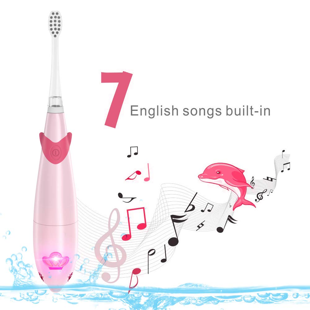 Fairywill Pink Battery Powered  Electric Toothbrush for Children, FW-921Pink