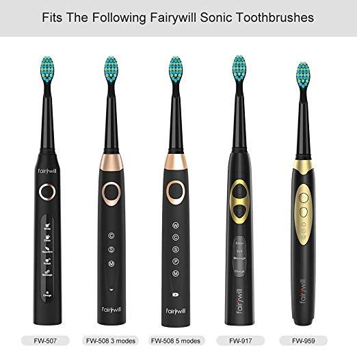Fairywill Black Soft Replacement Toothbrush Heads x 4, GC11 (Previous Model: FW-02)