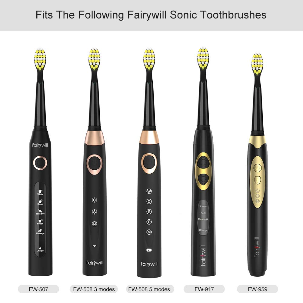 Fairywill Hard Brush Heads x4, GC15(Previous Model: FW-06)