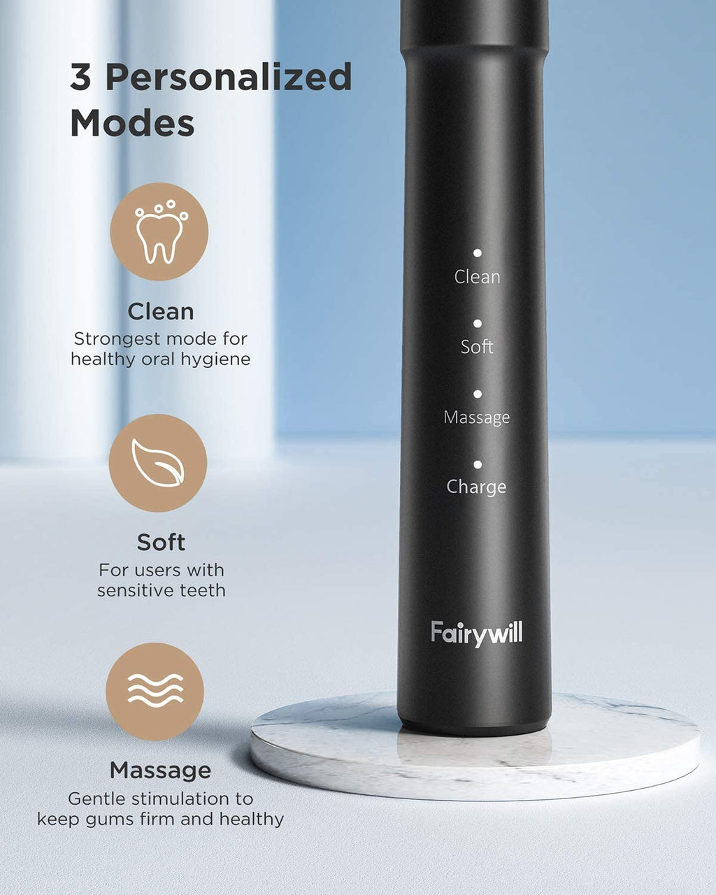 Fairywill E11 Electric Toothbrush, 3-Modes, 8 Toothbrush Heads & a Travel Case