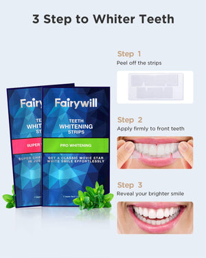 Fairywill Pro Teeth Whitening Strips Non-Slip for Sensitive Teeth