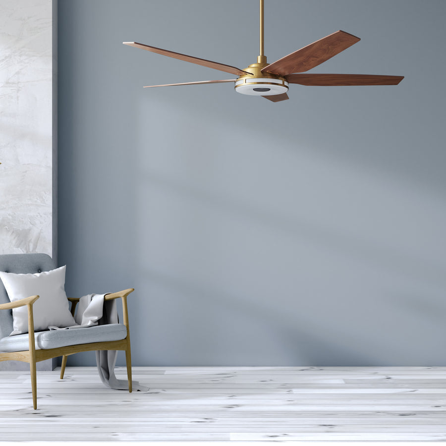 Carro Explorer 56'' 5-Blade Smart Ceiling Fan with LED Light Kit & Remote - Gold Case and Wood Grain Fan Blades